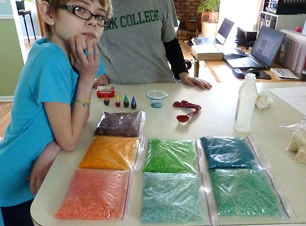 Rainbow rice for sensory bins, before drying