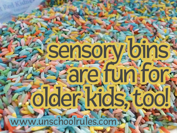 Rainbow rice for sensory bins