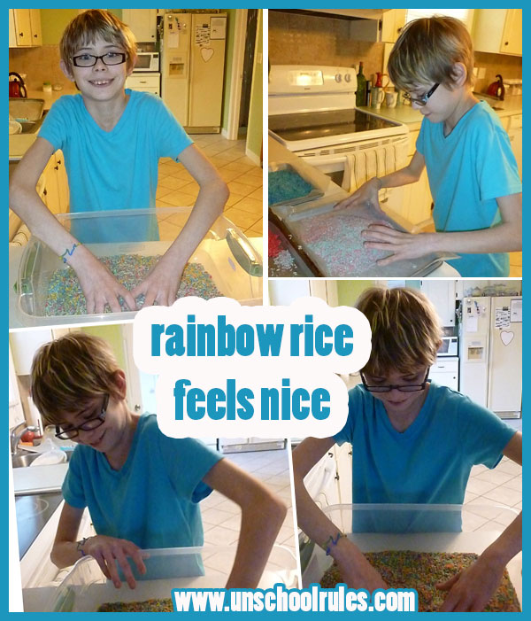 Making rainbow rice for sensory bins in homeschooling