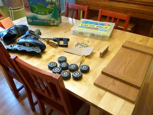 Materials to make a homemade skateboard
