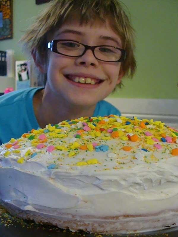 Sarah with her cake