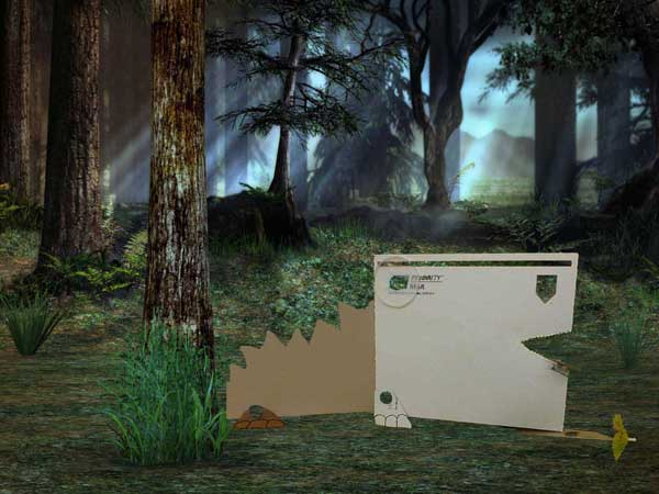 MAKEDO dinosaur out of recycled boxes, Photoshopped into a forest
