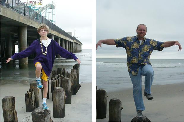 Re-enacting The Karate Kid on the beach