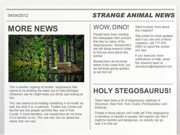 Homeschool newspaper project