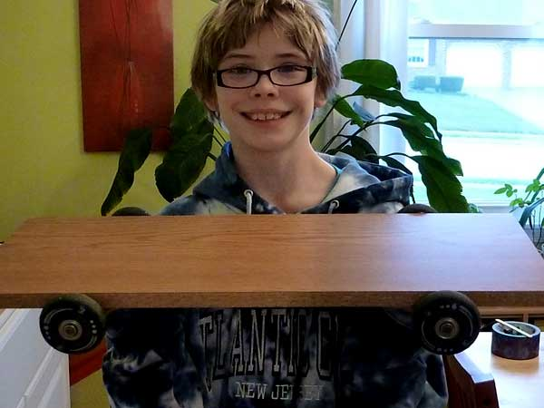 Our finished homemade skateboard