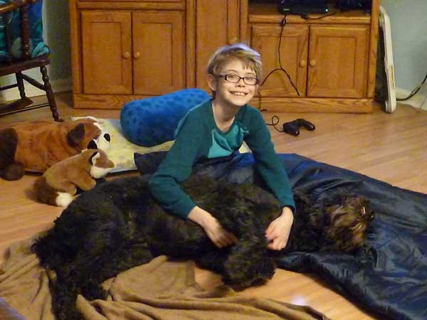 Sarah and our goldendoodle, Coby