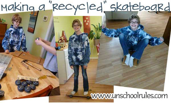 Making a homemade skateboard out of recycled materials