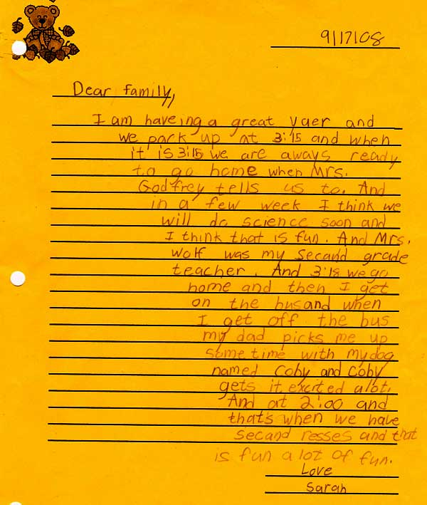 Third-grade introduction letter