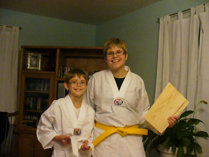 Family ready for tae kwon do class