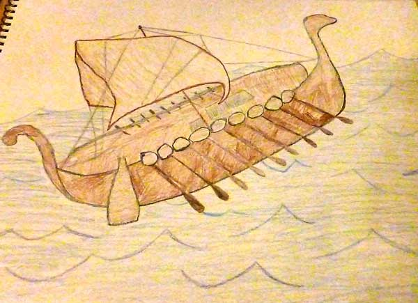 Drawing of a viking ship