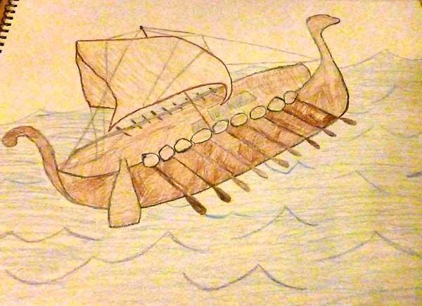 Drawing of a viking ship