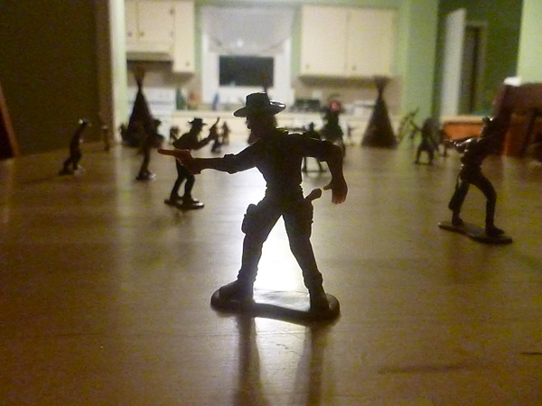 Cowboy silhouetted