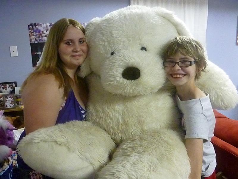 Gigantic stuffed dog named Dudley