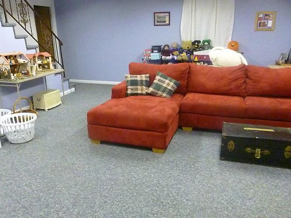 Homeschoolers' finished basement rec room