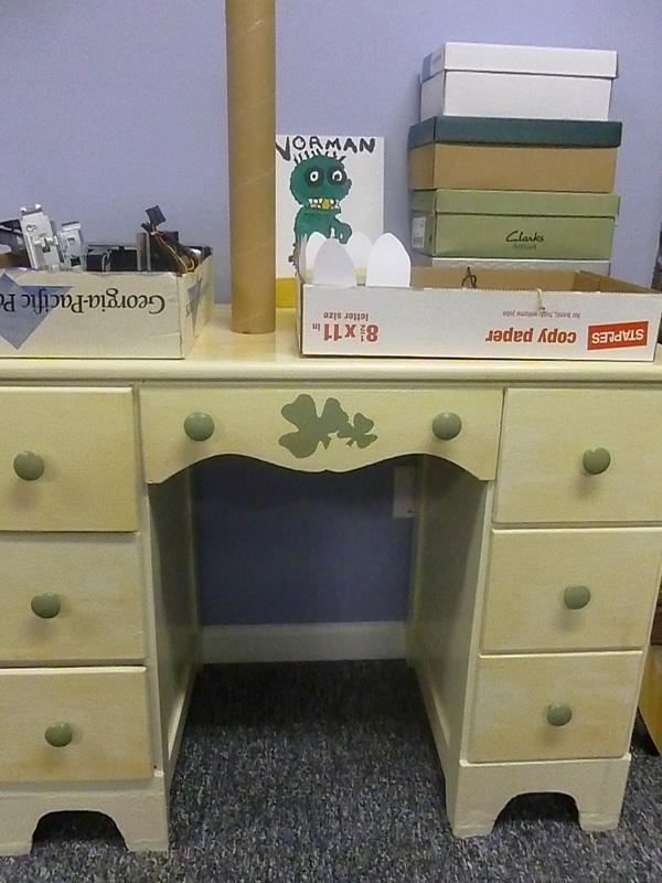 Desk in finished basement rec room