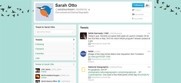 Sarah's Twitter profile