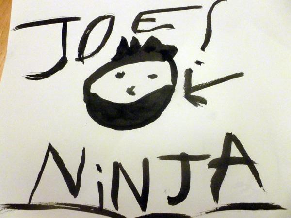 Calligraphy drawing of a ninja