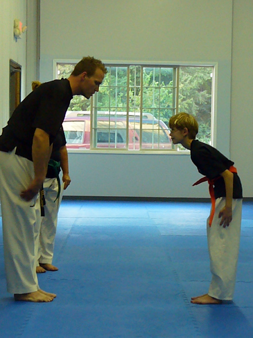 Testing for orange belt in tae kwon do