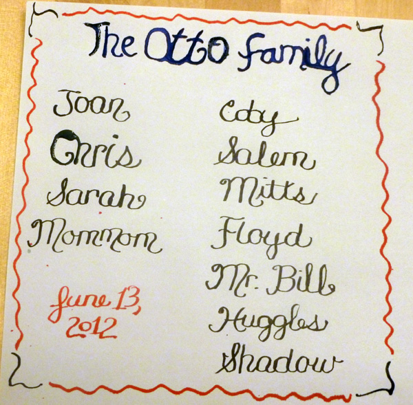 Family names in calligraphy
