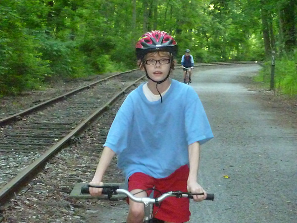 Biking on the Heritage Rail Trail County Park in York County, Pennsylvania