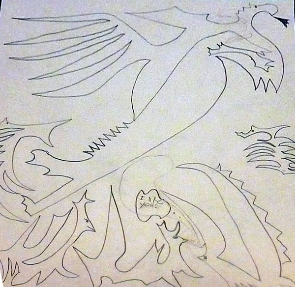 Line drawing of a dragon
