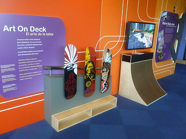 Native American-themed skateboards at the National Museum of the American Indian in Washington, D.C.