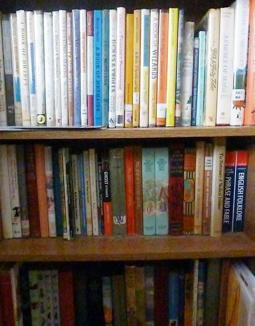 Bookshelf full of fairy tale books