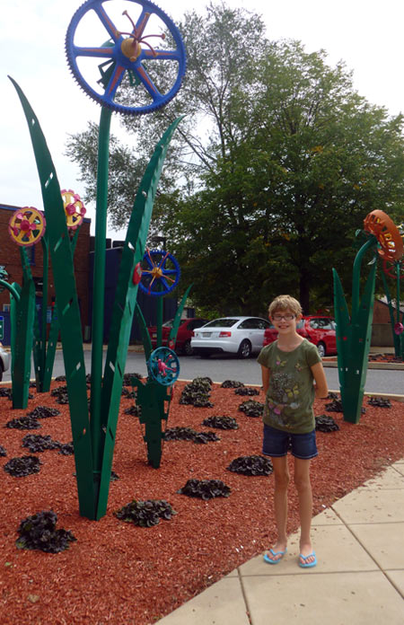 At Foundry Park in York, PA, which has recycled metal flower sculptures