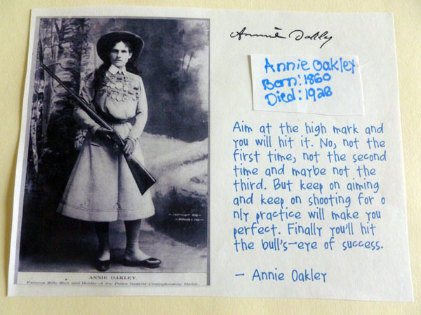 Information on Annie Oakley from homeschooling notebooking project