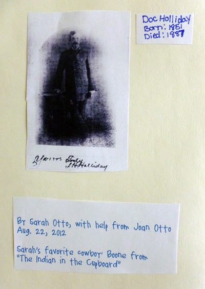 Information on Doc Holliday from a homeschooling notebooking project