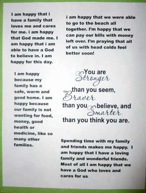 Gratitude sign for family fridge