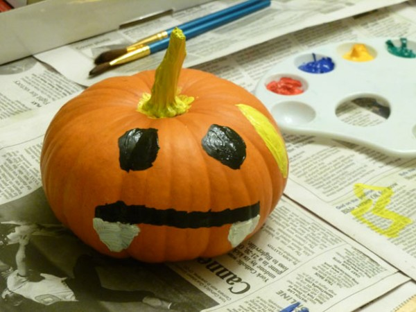 Painting pumpkins as a homeschool art project