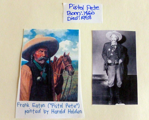 Information on Pistol Pete from a homeschooling notebooking project