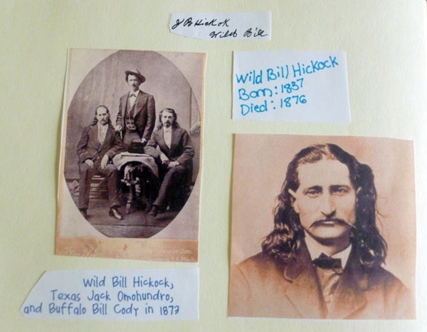 Information on Wild Bill Hickock from a homeschooling notebooking project