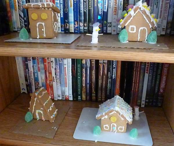 Four gingerbread houses from a kit
