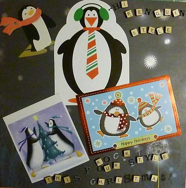 Christmas collage made from recycled cards, penguin themed