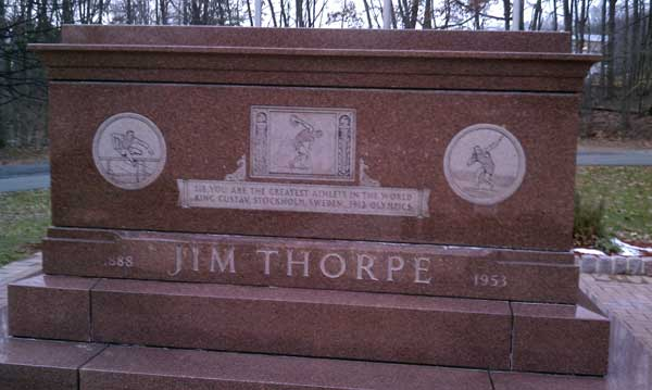 Jim Thorpe memorial in the town of Jim Thorpe, Pennsylvania, formerly known as Mauch Chunk
