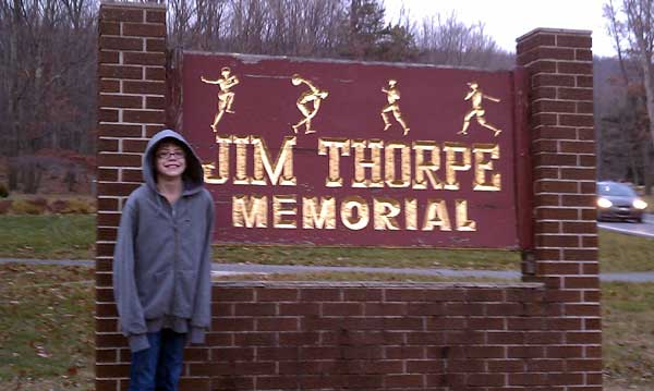 12-year-old Ashar at the Jim Thorpe memorial
