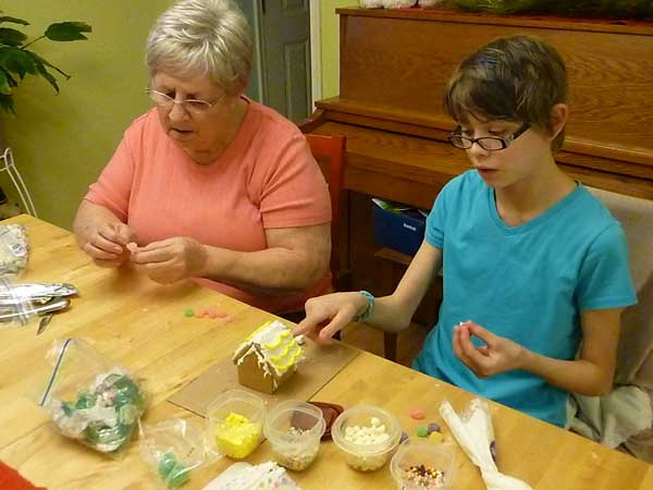Making gingerbread houses from a kit