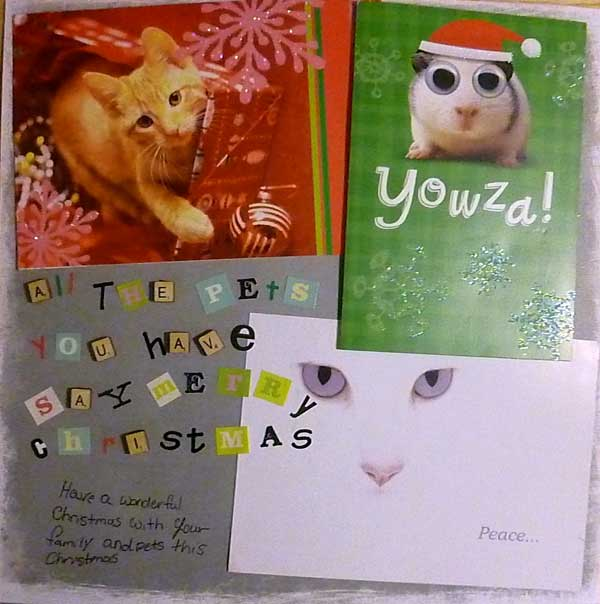 Christmas collage made from recycled cards, pet themed