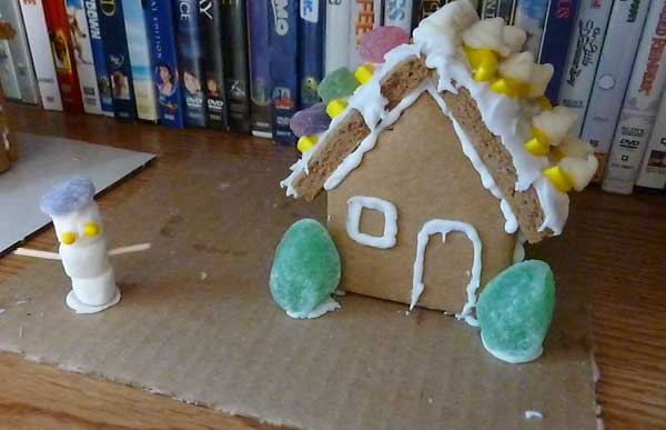 Scalloped cottage gingerbread house from a kit