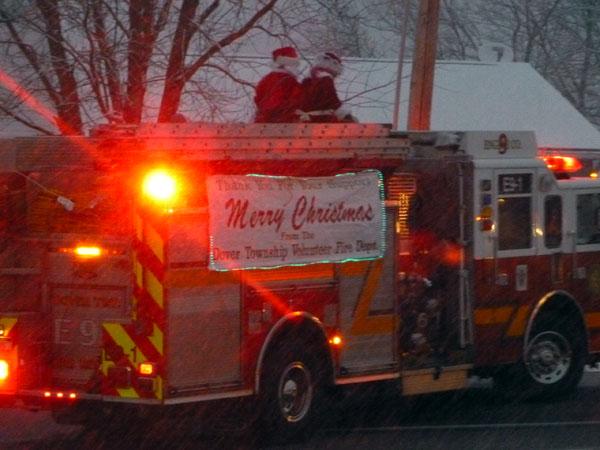 Santa Claus on firetruck