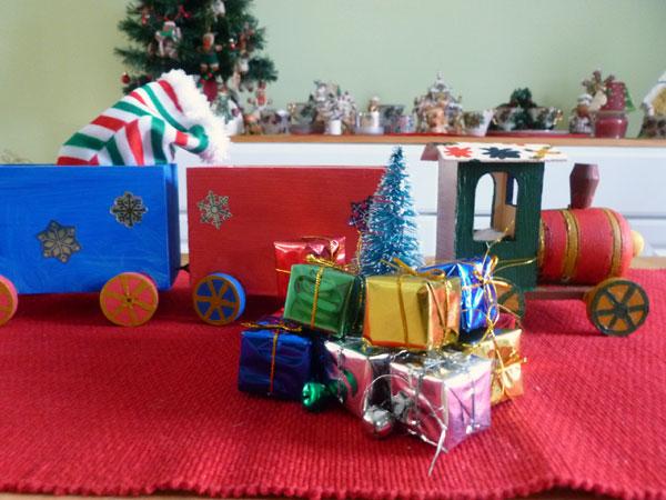 Hand-painted Christmas train