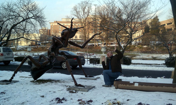 Being eaten by a giant ant outside the Reading Public Museum in Reading, Pennsylvania