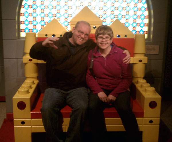 Sitting on a giant LEGO throne at the Reading Public Museum in Reading, Pennsylvania