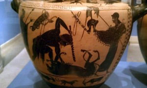 Urn depicting Herakles (Hercules) defeating the Nemean Lion at the Reading Public Museum in Reading, Pennsylvania