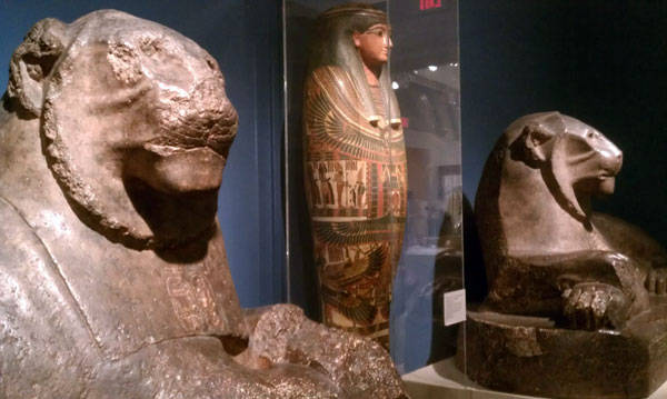 Lions guarding Egyptian tombs at the Reading Public Museum in Reading, Pennsylvania