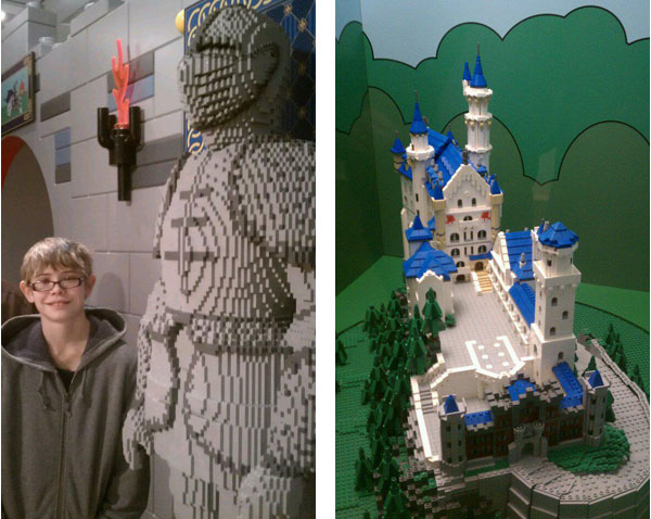 LEGO soldier and LEGO Neuschwanstein Castle on display at the Reading Public Museum in Reading, Pennsylvania