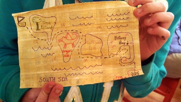 Family pirate map craft on papyrus