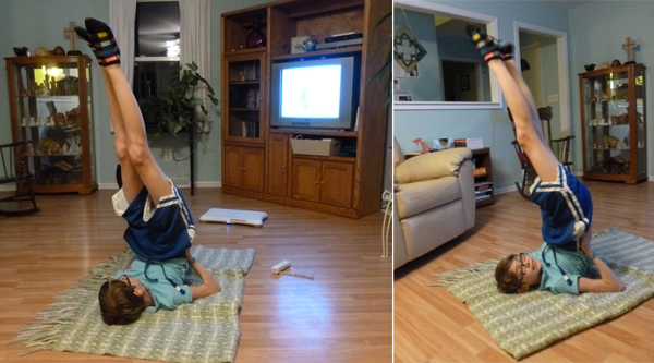 Living-room yoga at midnight - Unschool RULES